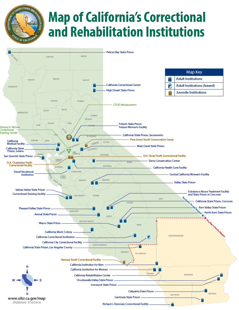 Map Of California Prisons.Map Of California S Correctional And Rehabilitation