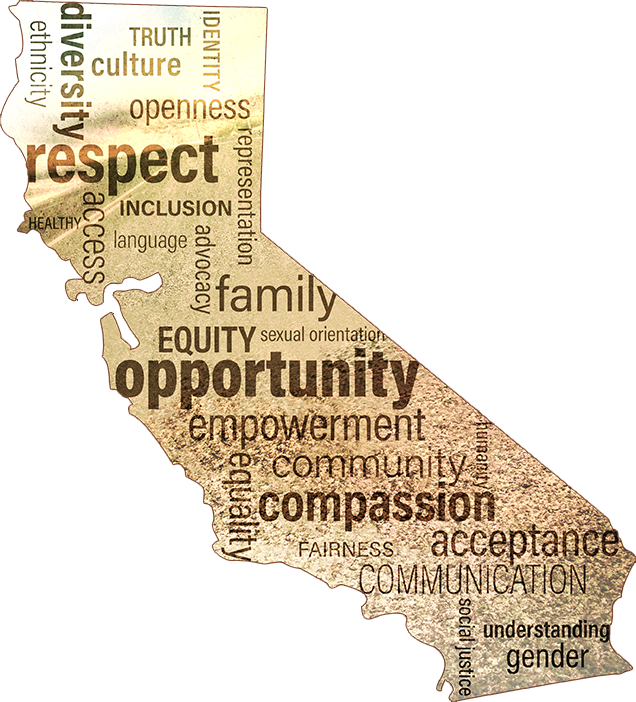 california map with words representing GARE goals