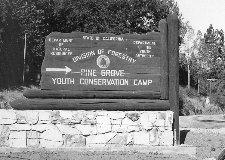 Old sign for Pine Grove Youth Conservation Camp.