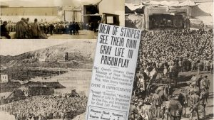 Photos of stage, crowd of men in striped prison outfits and a newspaper clipping of the play in San Quentin.