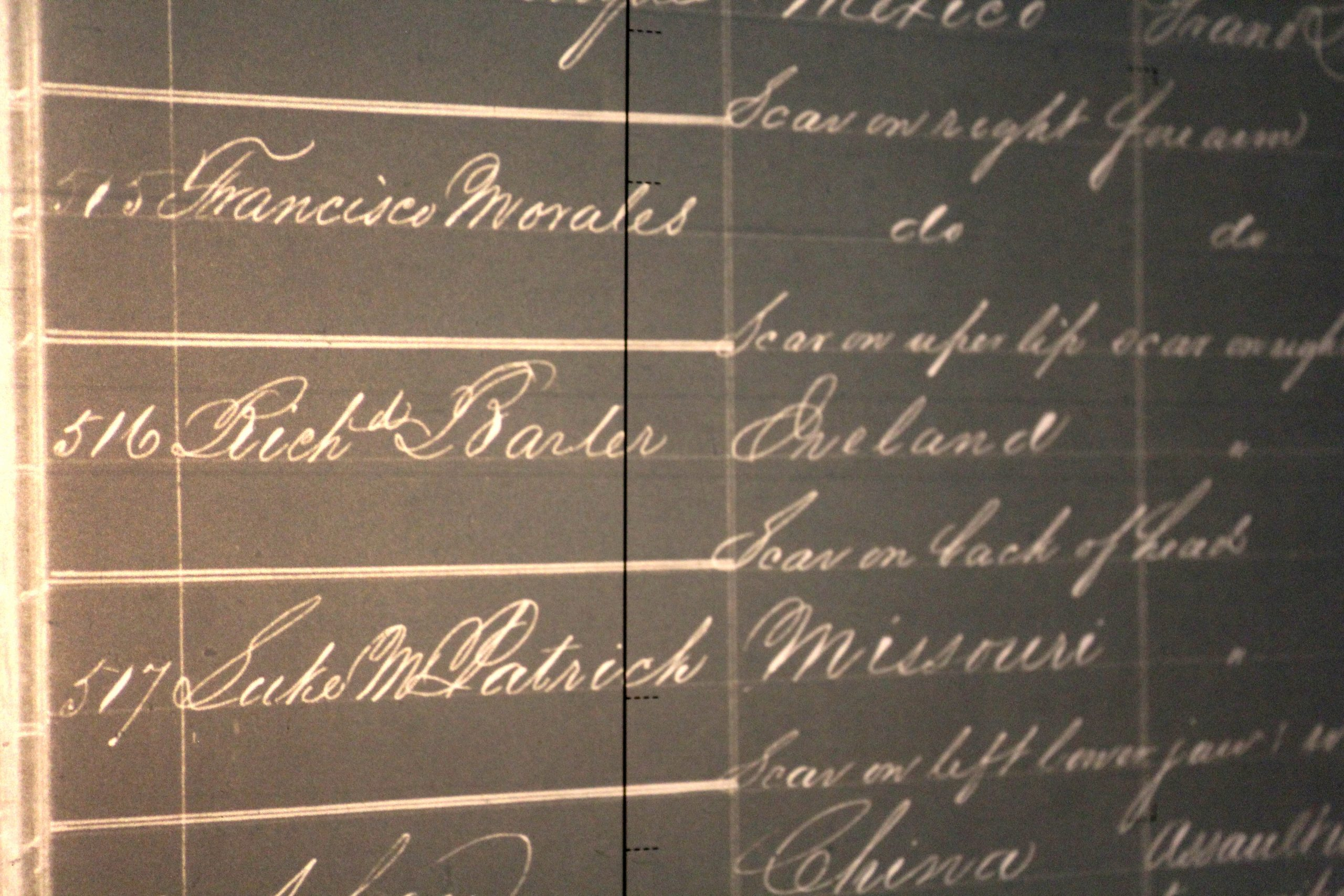 Black and white list of names of prison inmates, including Richard Barter, also known as Rattlesnake Dick.