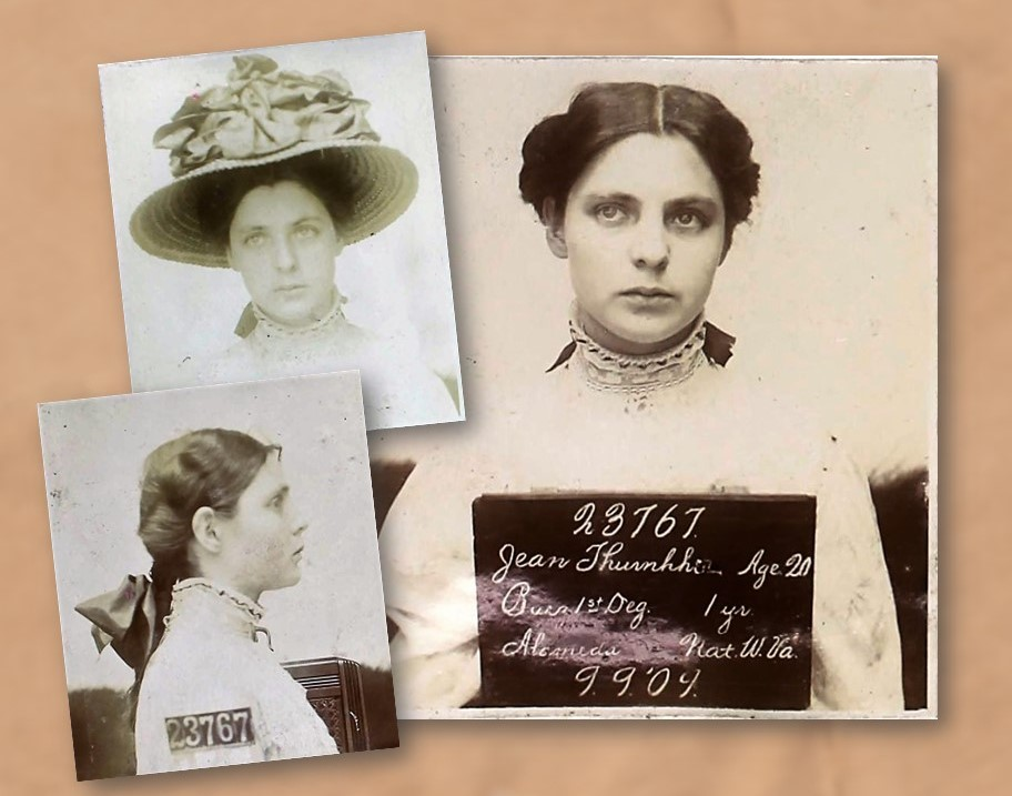 Side and front mug shots of a woman with board that says 23767 Jean Thurherr, Age 20, Burg 1st Deg., 1 yr.
