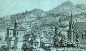 Drawing of buildings, hills and some trees.