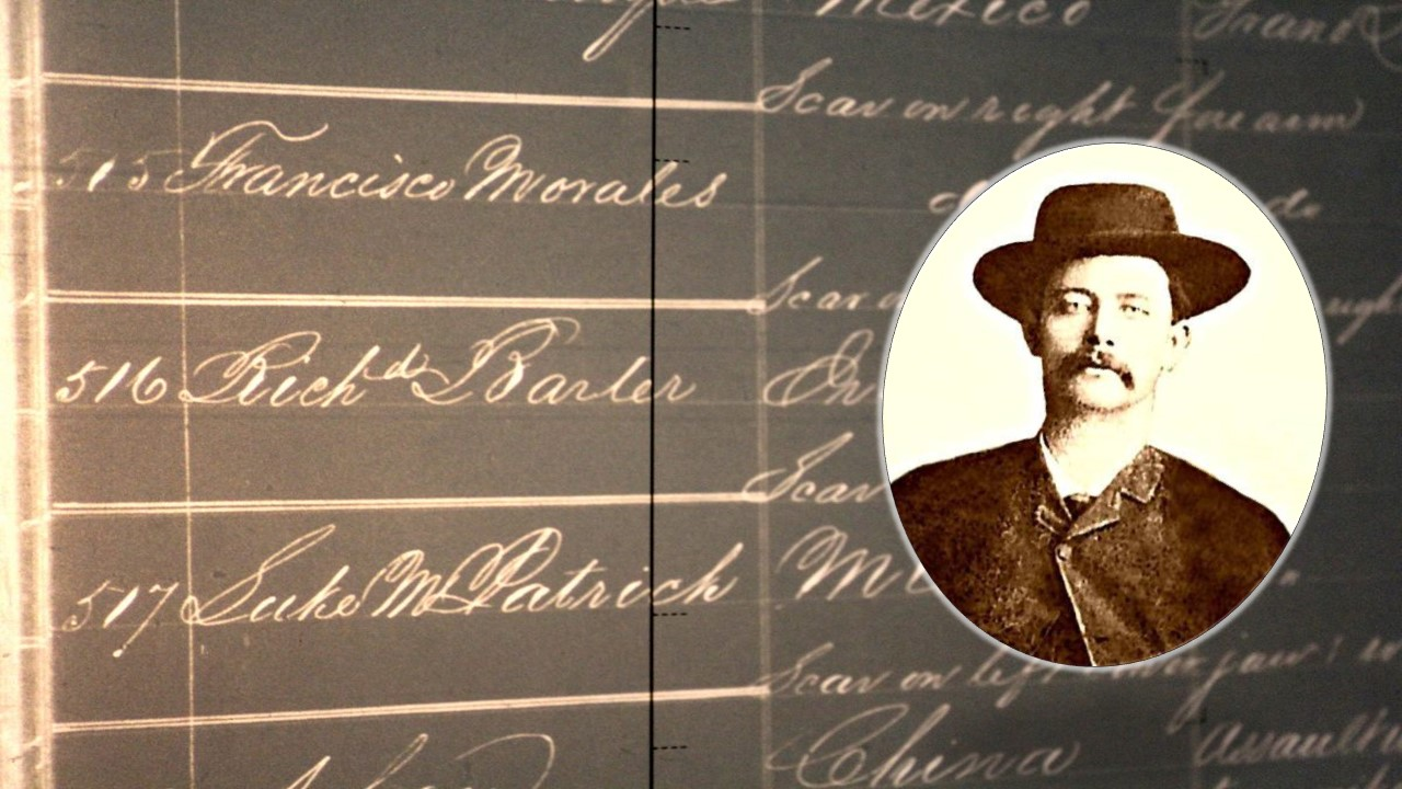 Black and white list of names of prison inmates, including Richard Barter, also known as Rattlesnake Dick. Inset is a photo of a man wearing a cowboy hat.