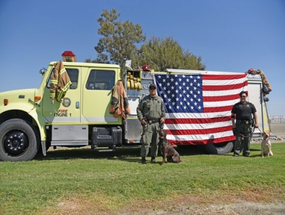 Two officers with police dogs stand in front of a flag.