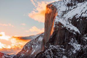 Sunset on mountain at Yosemite.