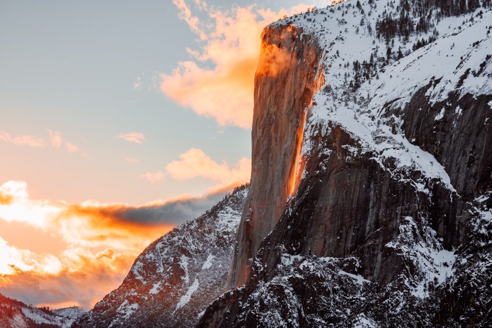 Sunset on mountain at Yosemite.