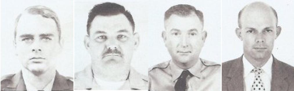 Four black and white photos of prison employees.