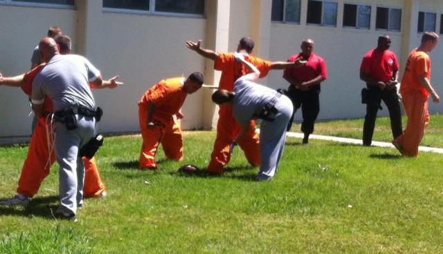 Men in orange jumpsuits are patted down by officers in uniform.