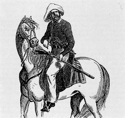 Illustration of man on horseback with shotgun.