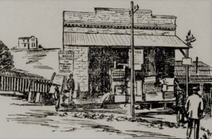 Sketch of store in gold area of town.