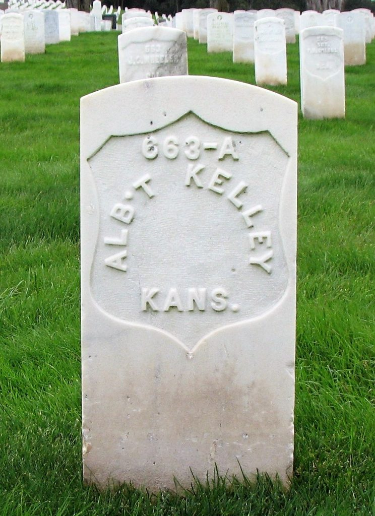 Grave stone for early CDCR staff with the words Alb't Kelley Kans. are on the marker at the San Francisco National Cemetery.