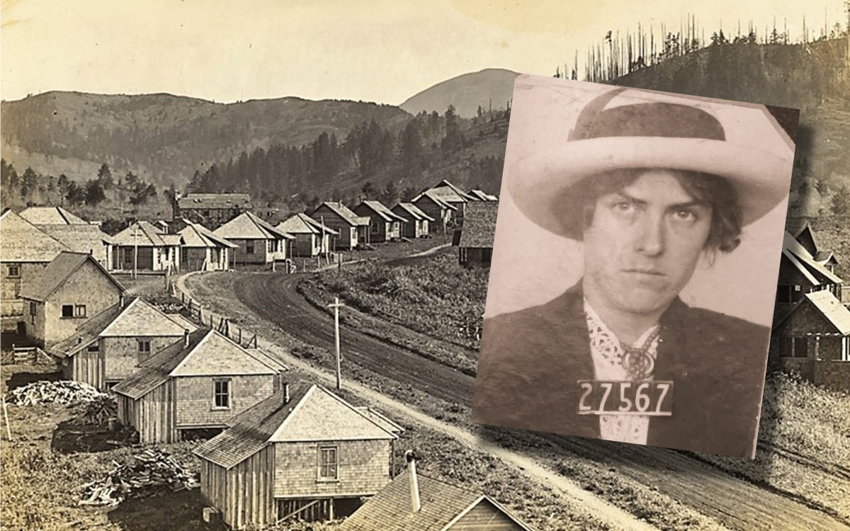 Dirt road lined with small cabins. Inset over the top is a woman in a hat with numbers at the bottom.