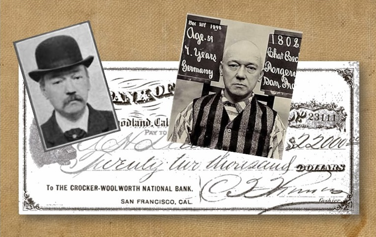 Photo of man in hat and in prison stripes over a check for $22,000.