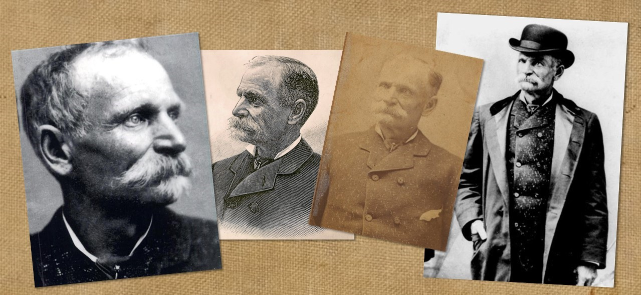 Four photos of a man with mustache and thinning hair.