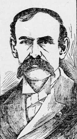 Sketch of man with large mustache, suit and tie.