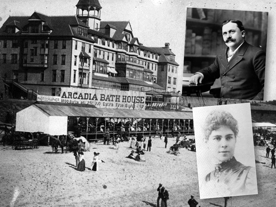 """Photos of an old hotel with sign """"Arcadia Bath House"""" and a picture of dapper man and a woman."""