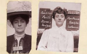 Mugshots of woman in large hat and with chalk board.