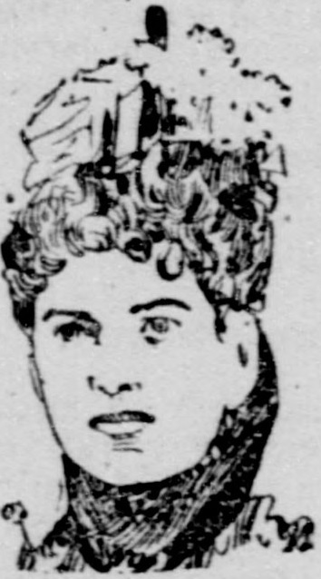Drawing of woman with curly hair wearing hat.