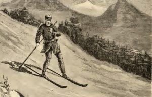 Sketch of man on skis.