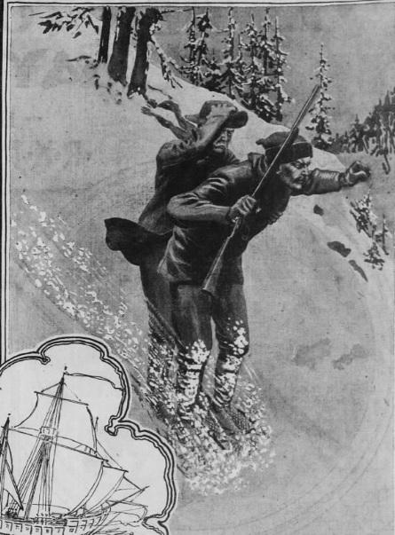Two men on skis slide down mountain.