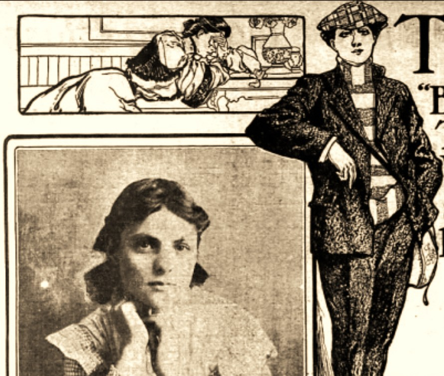 An illustration shows a woman in men's clothing. Beside it is a photo of herself wearing women's clothing.