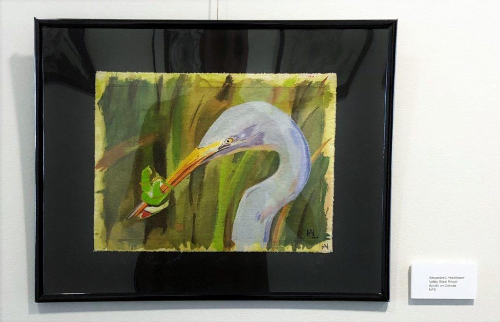 Bird in tall weeds eats a green fish or bug.