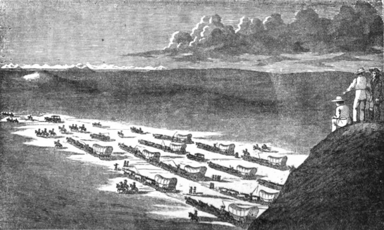 Drawing of covered wagons moving across a large valley.