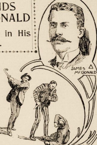 Sketch of man with well-groomed mustache. Also a sketch of one man attacking another, while a third man rushes them with a cane.