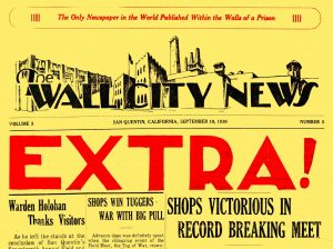 """Bright yellow newspaper with the word """"extra"""" in big bold type."""