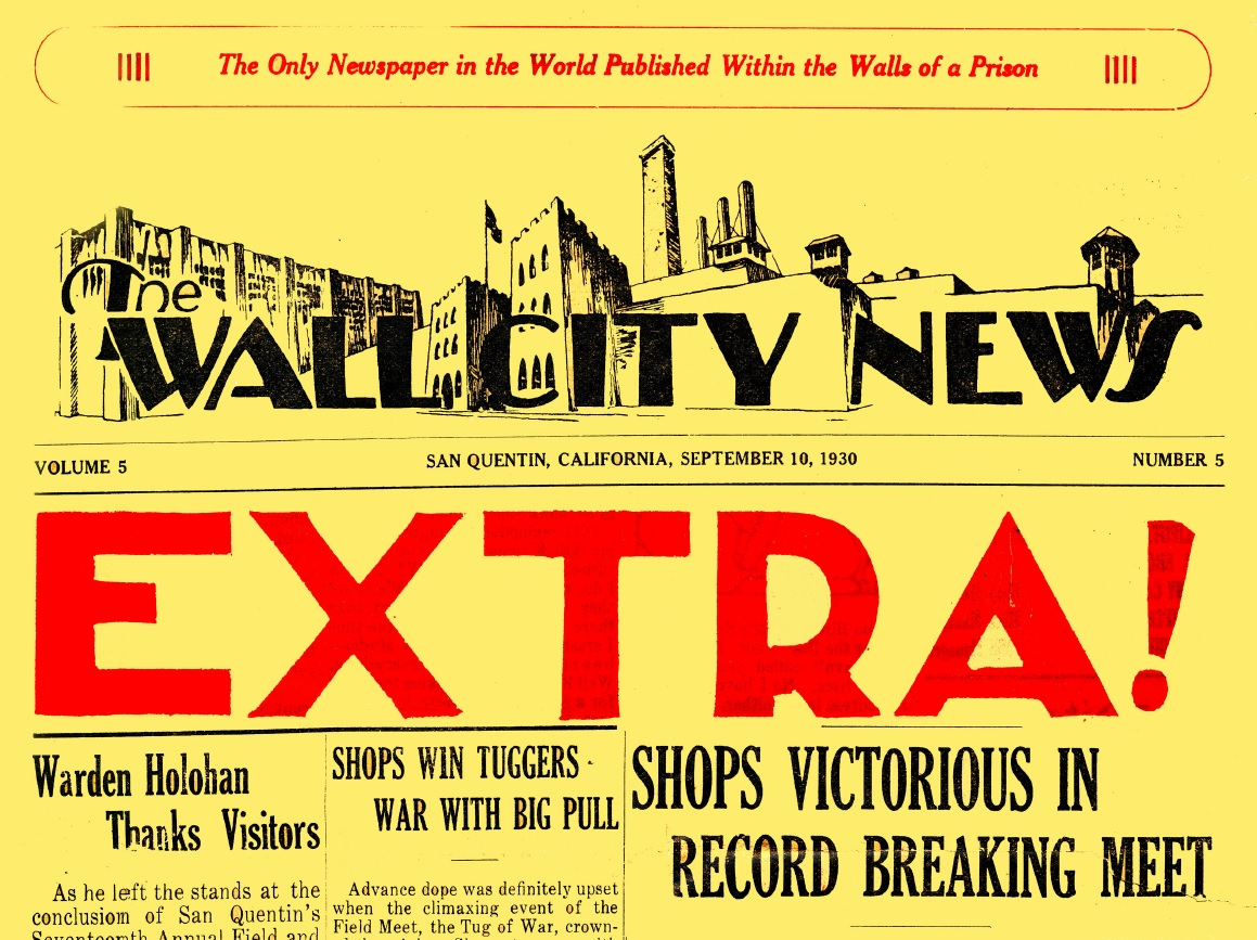"Bright yellow newspaper with the word ""extra"" in big bold type."