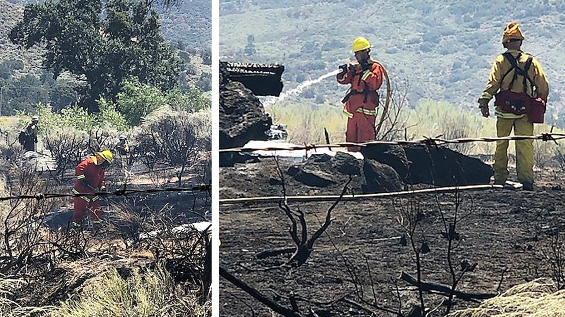 Two photos of firefighters putting out hot spots.