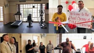A collage of photos showing gym equipment, a woman holding large scissors ready to cut a red ribbon, a man holding a sign welcoming everyone to a grand opening of the new CIM fitness center and a photo of men and women gathered to watch.