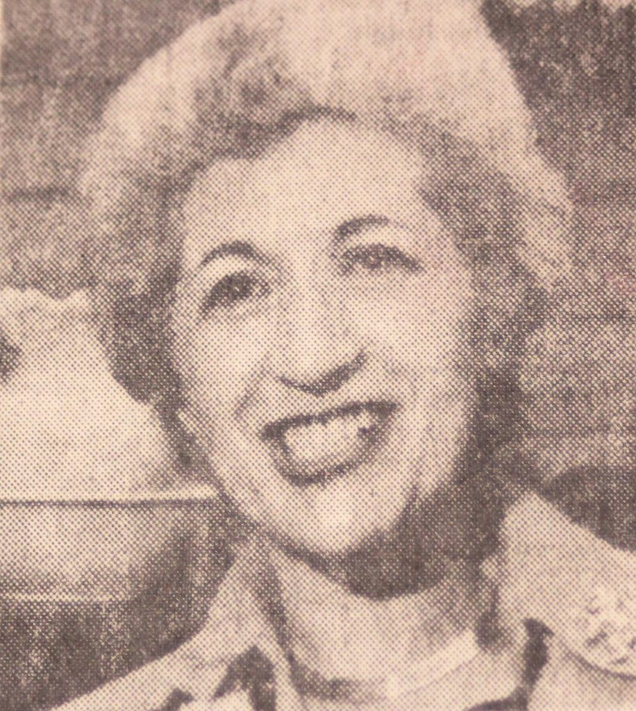 Newspaper photo of Pearl West from 1970s.