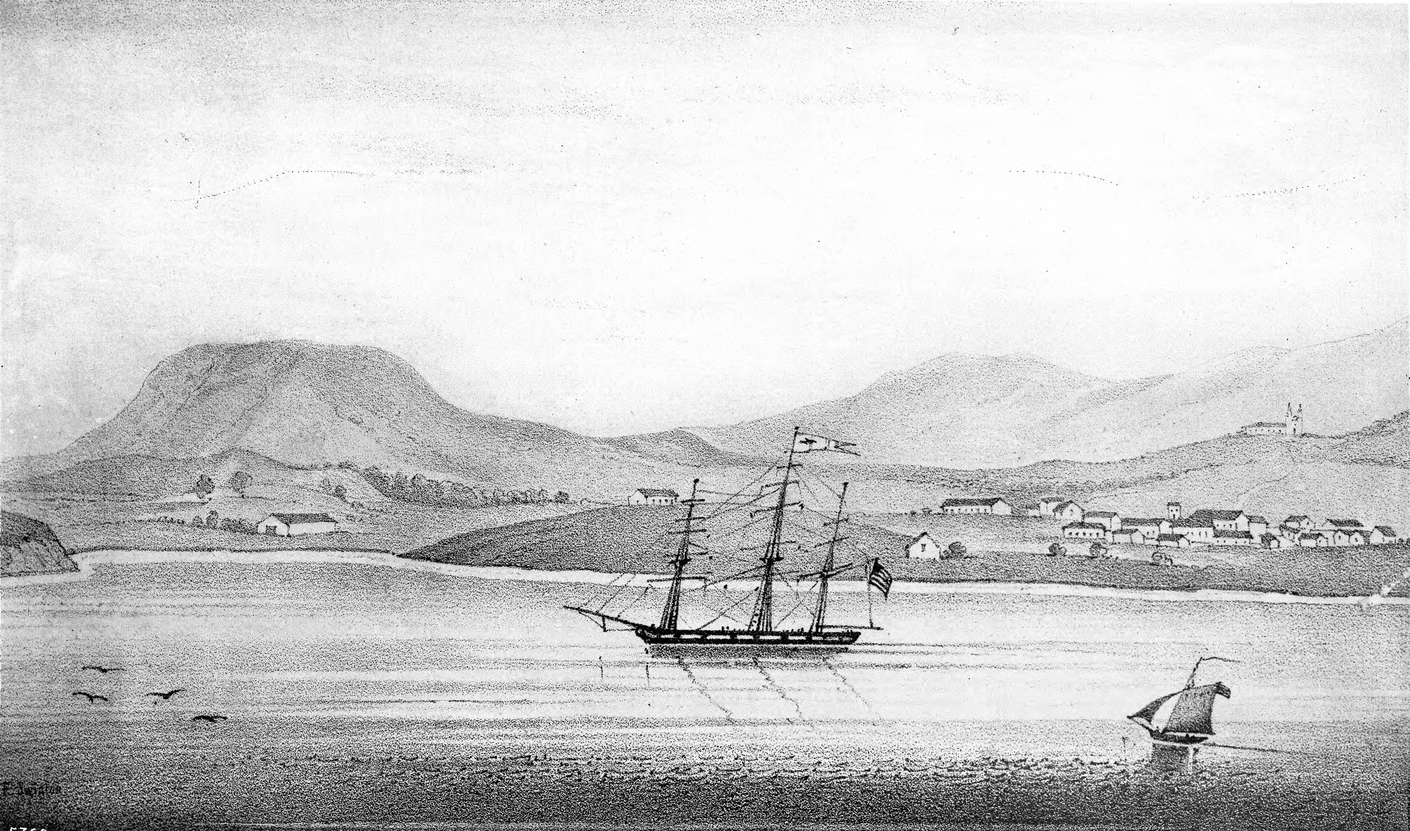 Sketch of town with ship in harbor.