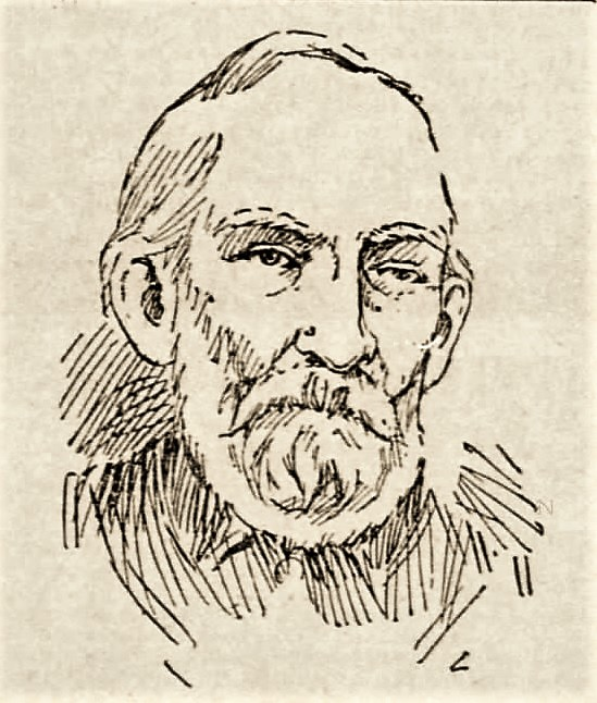 Sketch of man with full beard.