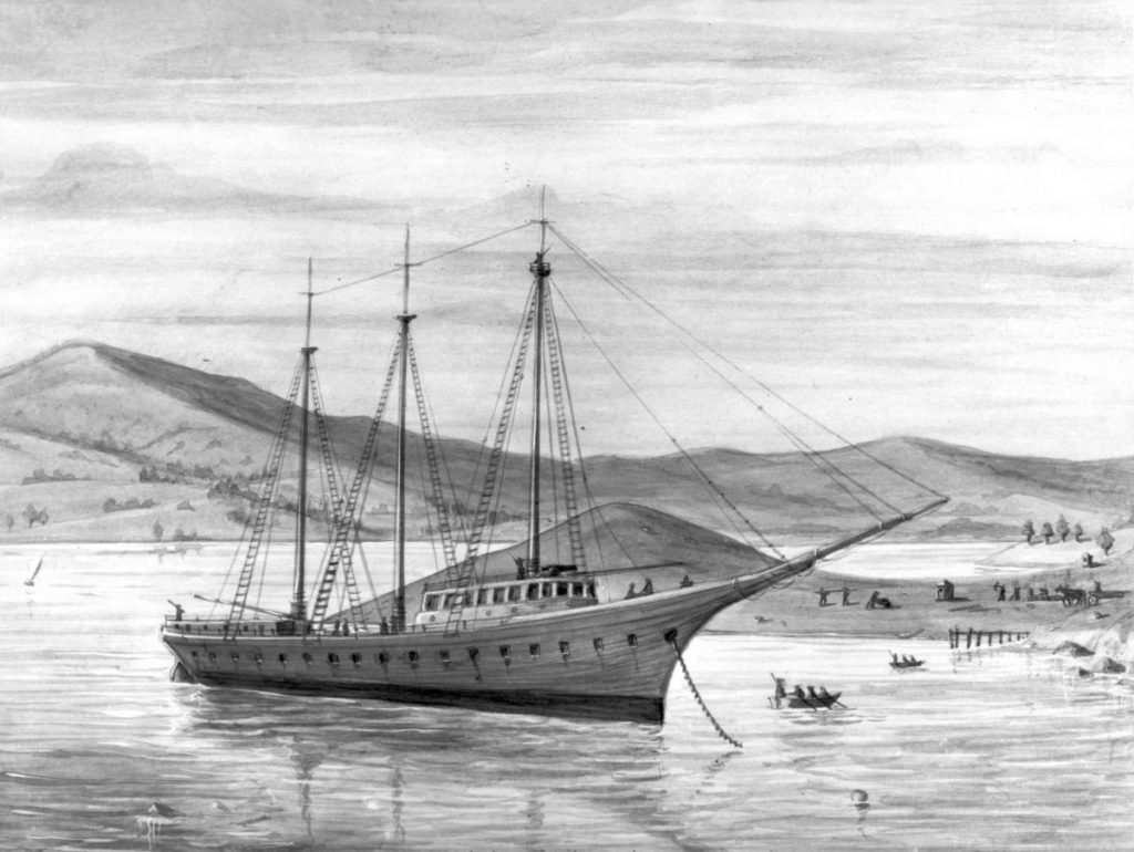 California prison ship Waban at point San Quentin at Corte Madera. The drawing shows people working on the shore.