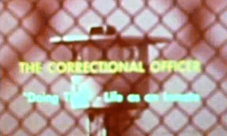 A prison tower and a chain-link fence with the words: The Correctional Officer. Doing Time - Life as an Inmate.