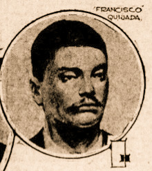 Newspaper photo of man framed in a circle with the words Francisco Quijada above it.