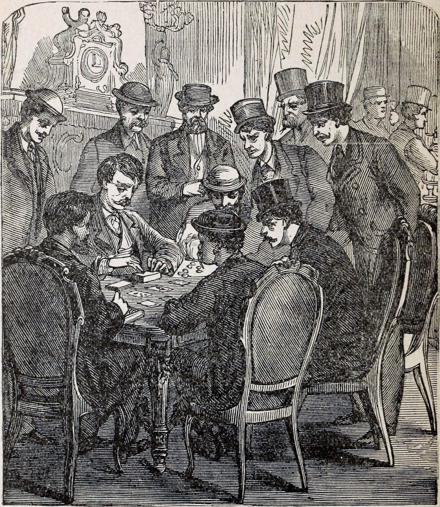 Sketch of men in old fashioned gambling hall.