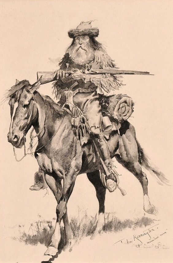 Drawing of bearded man with gun on horseback, much like San Quentin Captain Asa Estes.