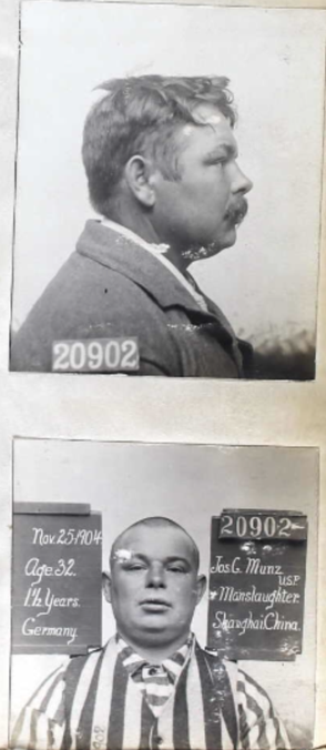 Booking mugshots of man. In the second photo his head and face has been shaved.