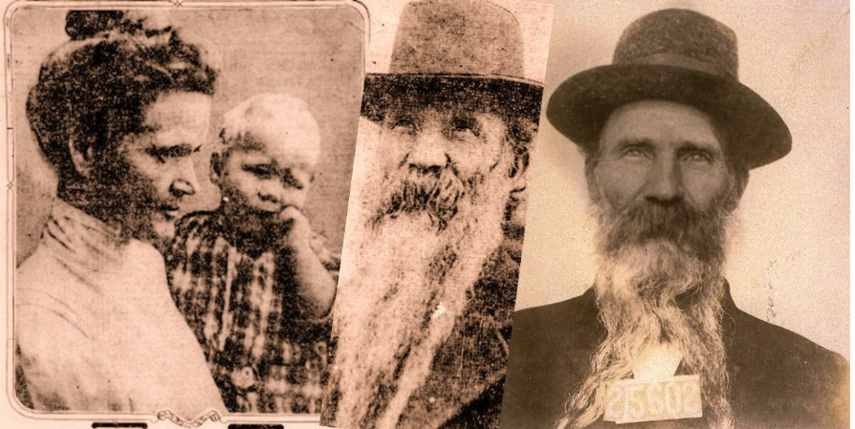 Two photos of man with long beard and a photo of a woman with a baby.