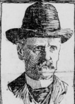 Sketch of man in hat and high collar.