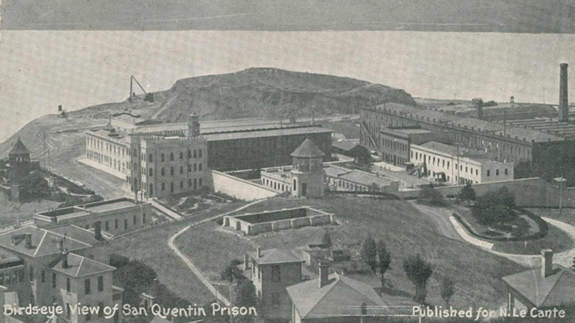 Old postcard that says Birds Eye View San Quentin Prison.