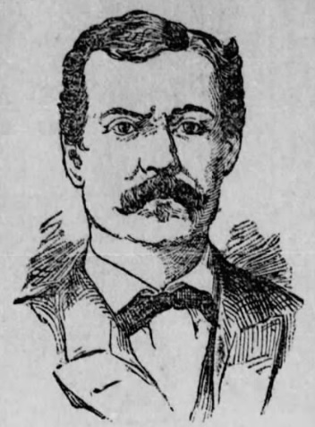Sketch of man with bushy mustache and dark hair.