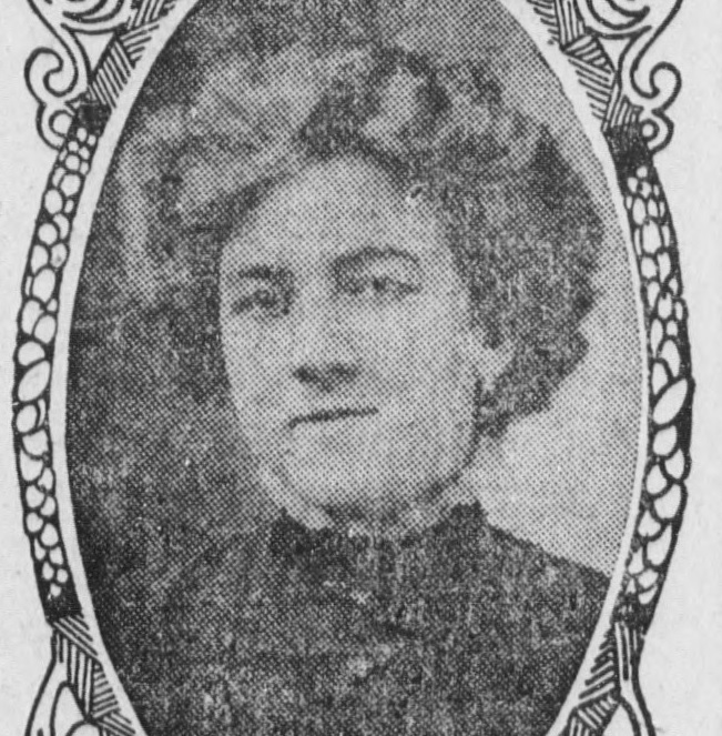 Grainy photo of woman in an illustrated frame.