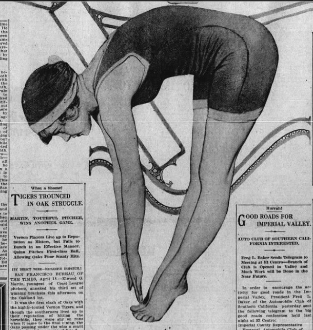 Woman in swimsuit bent over and touching her toes.