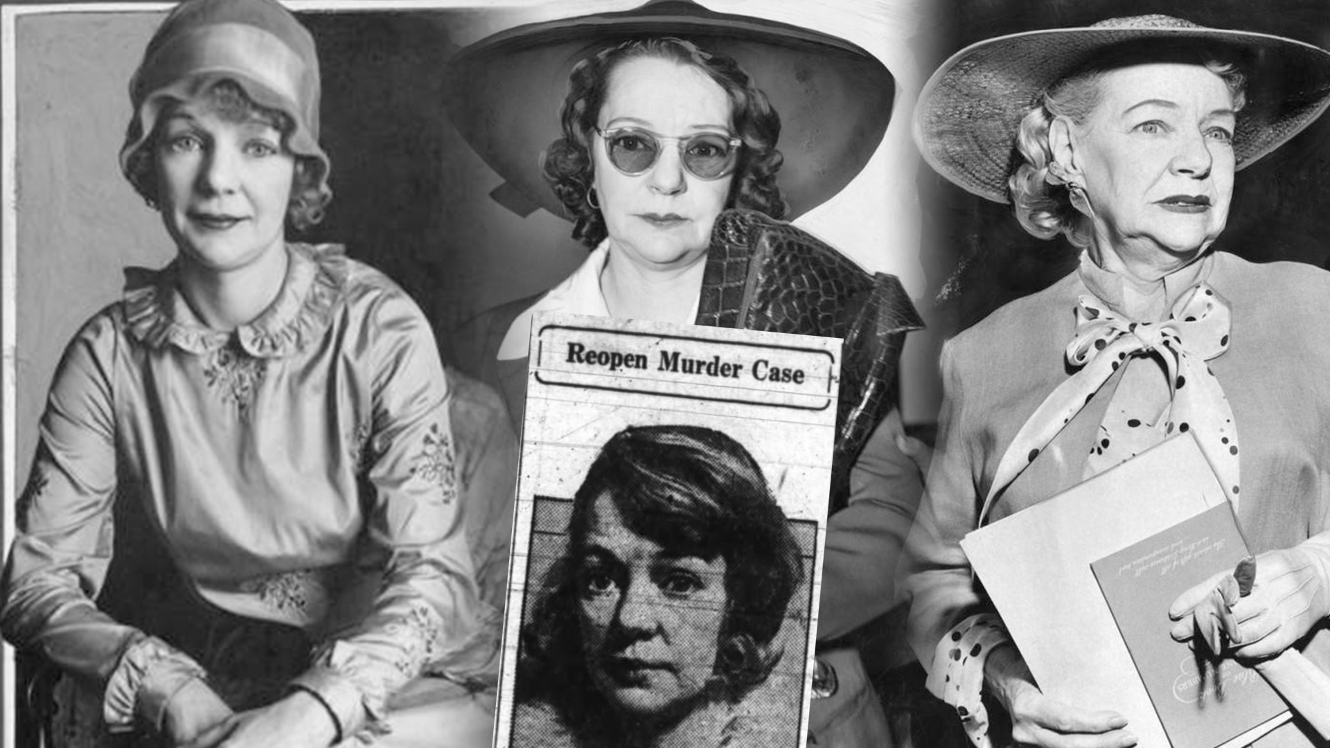 "Photos of the same woman ranging from 1927 to 1958. An inset news photo says ""Reopens Murder Case."""