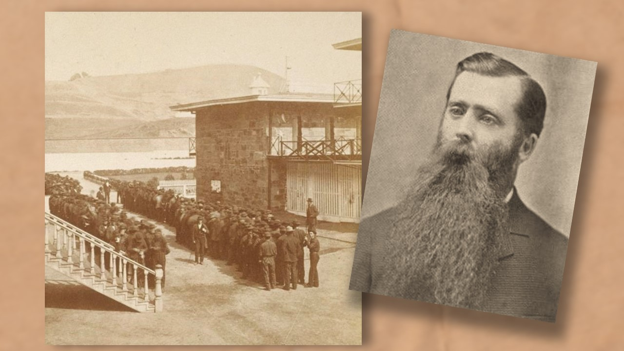 grainy photos on a paper background show a man with a long beard and striped-suited convicts lining up beside a brick building and a long white staircase.
